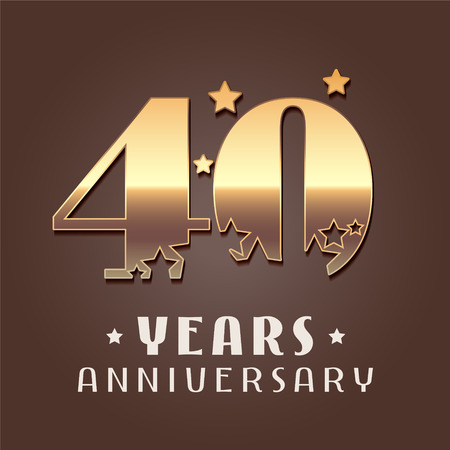 40 years anniversary vector icon. Graphic design element with golden metal effect numbers for 40th anniversary decoration