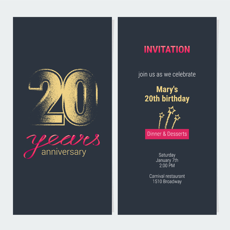 20 years anniversary invitation vector illustration. Graphic design template with golden glitter stamp for 20th anniversary party or dinner invite