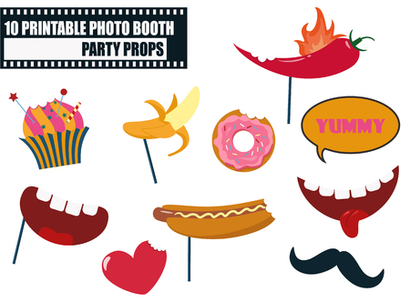 Colorful photo booth food props icon set vector illustration. Collection of icons with hipster style design elements such as mouth with teeth, cupcake, moustache, food. Perfect for photobooth shooting Illustration