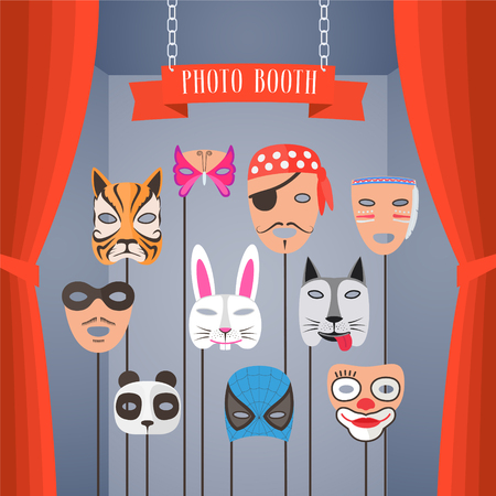 Photo booth props with masks for children with different animals vector illustrations. Decoration for kids party for funny photobooth shooting Illustration
