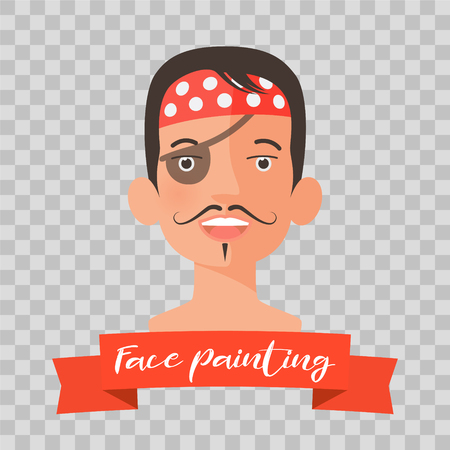 Kid with pirate face painting vector illustrations on transparent background. Child face with hero makeup painted for kids party.