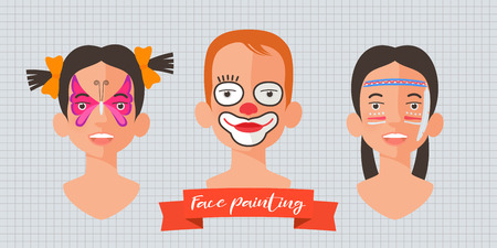 Children face painting set of vector illustrations. Faces with different animals painted for kids party. Butterfly, clown, Indian makeup