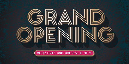 Grand opening vector banner, illustration. Template design element with golden sign for new store opening ceremony