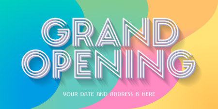 Grand opening vector illustration, background with retro style colors design. Template banner for opening event