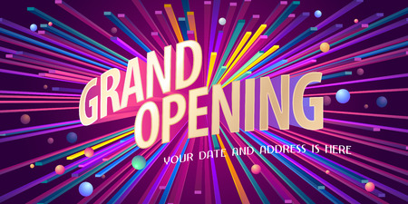 Grand opening vector background. Ribbon cutting ceremony design element as poster or advertising for opening event. Vettoriali