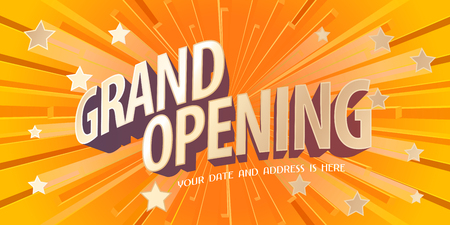 Grand opening vector banner, poster, illustration. Unusual design element with abstract background for opening ceremony