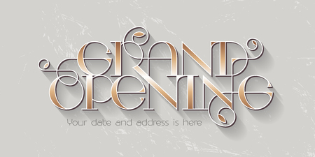 Grand opening vector illustration, background for new store with elegant lettering. Template banner, design element for opening event, red ribbon cutting ceremony. Vettoriali