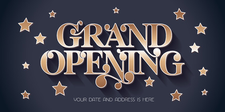Grand opening vector illustration, background for new store, etc with vintage style sign. Template banner, design element for opening event, red ribbon cutting ceremony