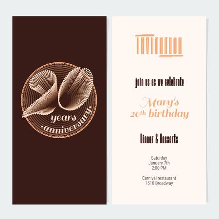 20 Years Anniversary Invitation Vector Illustration Graphic