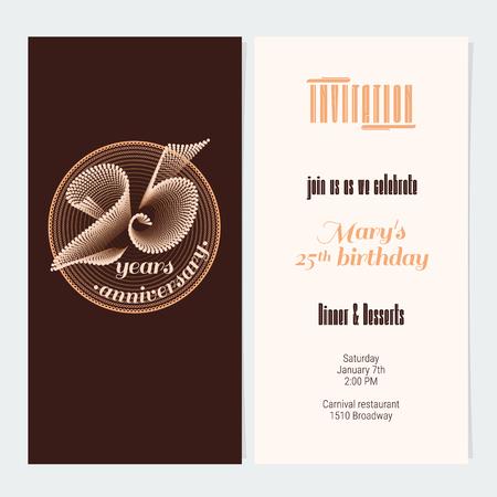 25 Years Anniversary Invitation Vector Illustration Graphic