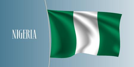 Nigeria waving flag vector illustration. Iconic design element as a national Nigerian symbol