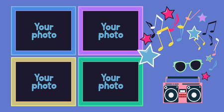 Collage of photo frames or scrapbook vector illustration. Design element with hipster objects and template frames for photo insertion