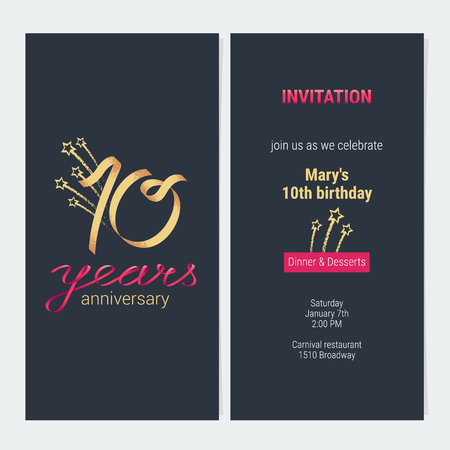 10 years anniversary invitation to celebrate vector illustration. Design template element with golden number and text for 10th birthday card, party invite