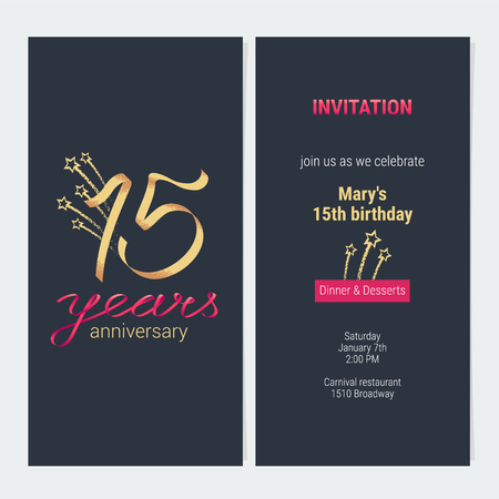 15 years anniversary invitation to celebrate vector illustration. Design template element with golden number and text for 15th birthday card, party invite