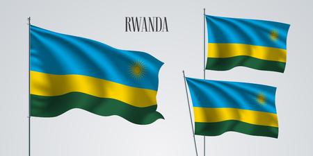 Rwanda waving flag set vector illustration. Vettoriali
