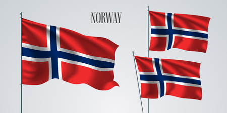 Norway waving flag set of vector illustration. Blue red colors of Norway wavy realistic flag as a patriotic symbol