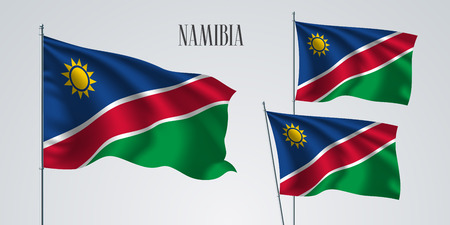 Namibia waving flag set of vector illustration. Green red colors of Namibia wavy realistic flag as a patriotic symbol Stock Illustratie