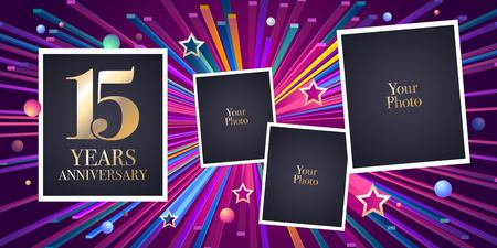 15 years anniversary vector icon, logo. Design element, greeting card with collage of photo frames for 15th anniversary