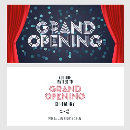 Grand opening vector banner, illustration, invitation card. Template festive invite design with red curtain and text for opening ceremony