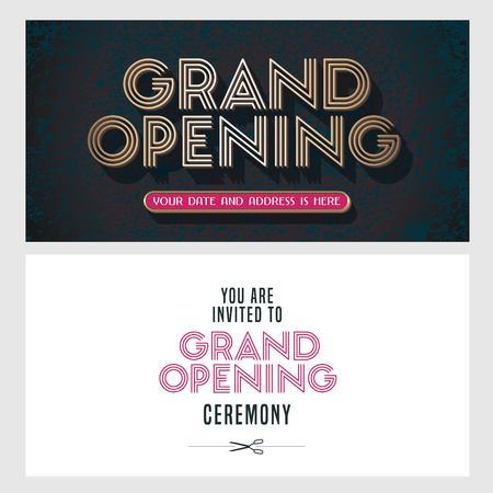 Grand opening vector illustration, invitation card for new store, etc with vintage style sign. Template banner, invitation for the opening event, red ribbon Illustration