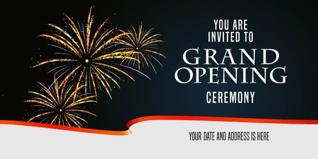 Grand opening vector illustration, background, invitation card with firework and scissors cutting red ribbon. Template banner, flyer for opening event Vectores