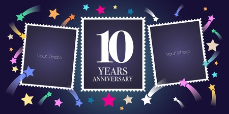 10 years anniversary vector emblem, logo. Template design, greeting card with photo frame collage on festive background for 10th anniversary
