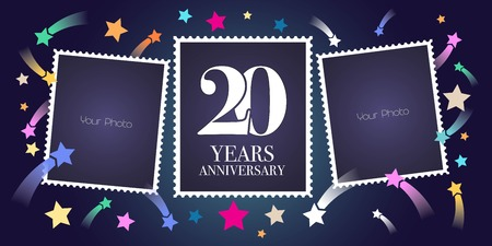 20 years anniversary vector emblem, logo. Template design, greeting card with photo frame collage on festive background for 20th anniversary