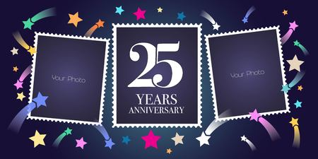 25 years anniversary vector emblem, logo. Template design, greeting card with photo frame collage on festive background for 25th anniversary