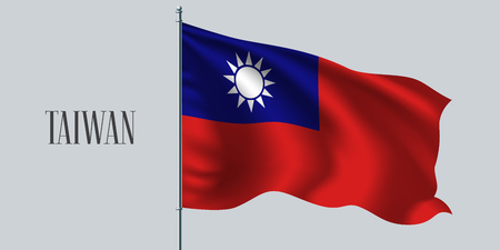 Taiwan waving flag on flagpole vector illustration. Red blue element of Taiwanese wavy realistic flag as a symbol of country