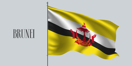 Brunei waving flag on flagpole vector illustration. Yellow white stripes of Brunei wavy realistic flag as a symbol of country Ilustração