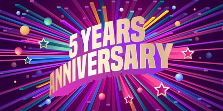 Graphic design element for 5th anniversary birthday greeting card