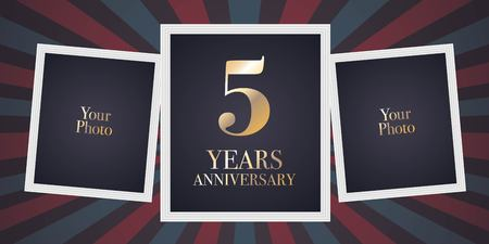 5 years anniversary vector icon, logo. Template design element, greeting card with collage of photo frames for 5th anniversary Stock Vector - 98050143