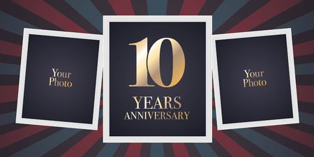 10 years anniversary vector icon, logo. Template design element, greeting card with collage of photo frames for 10th anniversary