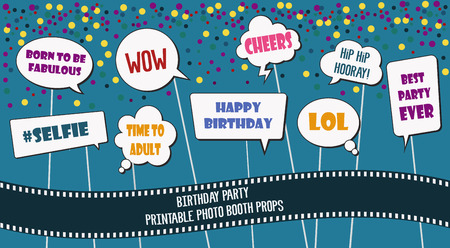 Photo booth props set for birthday party vector illustration. Printable comics style speech bubbles with funny phrases for making photo booth collage