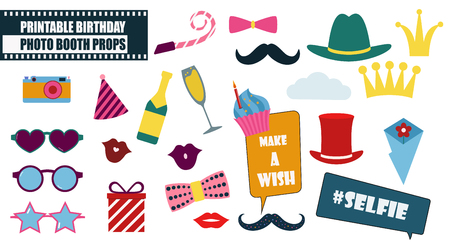 Photo booth props set vector illustration. Illustration