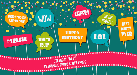 Photo booth props set vector illustration. Collection of icons with birthday party speech bubbles and jokes. Perfect for photobooth shooting