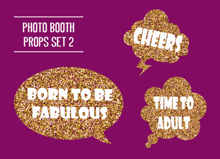 Golden glitter photo booth props vector illustration. Design elements with birthday party speech bubbles