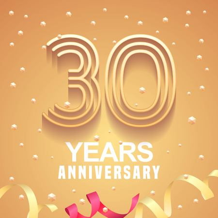 30 years anniversary vector icon, logo. Graphic design element with golden numbers and festive background for 30th anniversary. Ilustração