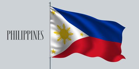 Philippines waving flag on flagpole vector illustration. Red blue element of Pilipino wavy realistic flag as a symbol of country