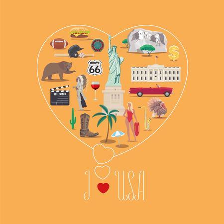 American icons set with hand writing of i love USA illustration. Çizim