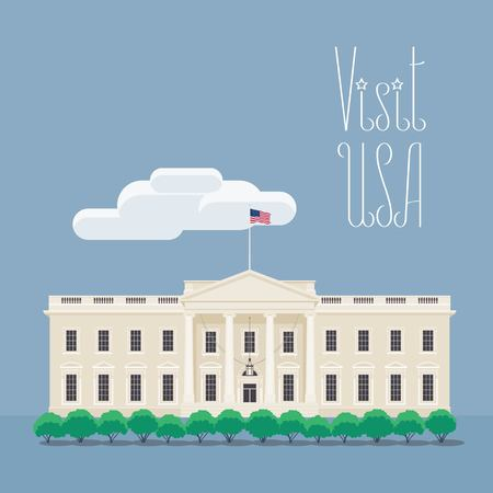 Design element with American presidents house for visit USA concept illustration.