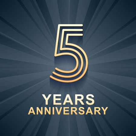 5 years anniversary celebration vector icon, logo. Template design element with gold color age for 5th anniversary card Illustration