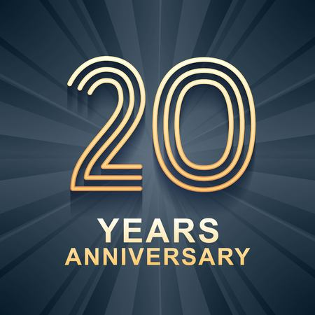 20 years anniversary celebration vector icon, logo. Template design element with gold color age for 20th anniversary card