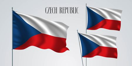 Czech republic waving flag set of vector illustration. White red colors of Czech wavy realistic flag as a patriotic symbol