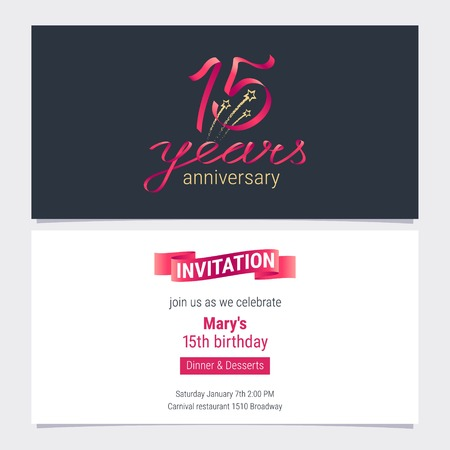 15 years anniversary invite vector illustration. Graphic design element for 15th birthday card, party invitation