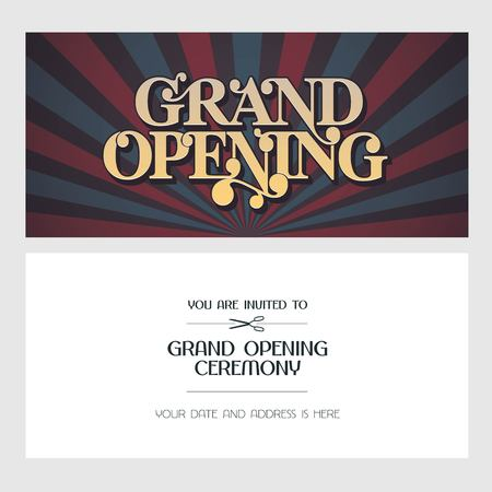 Grand opening vector illustration, background, invitation card. Template banner, invite for opening ceremony