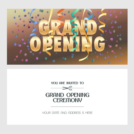 Grand opening banner with festive background vector illustration, invitation card. Template flyer, invite design element for opening ceremony with text Illustration