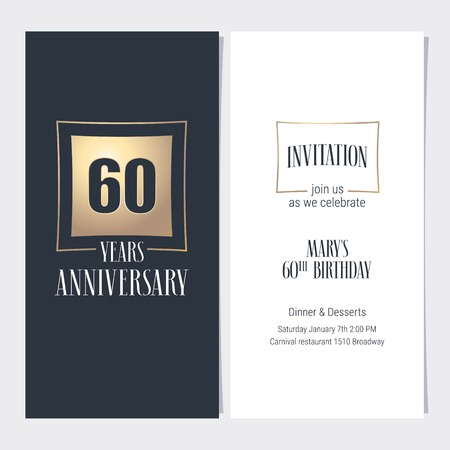60 years anniversary invitation vector illustration. Graphic design template with golden element for 60th anniversary party or dinner invite.