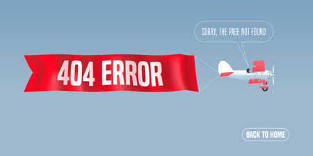 Template 404 error page vector illustration, banner with not found message. Retro biplane with mistake warning text background for website error 404 concept creative design element Illustration