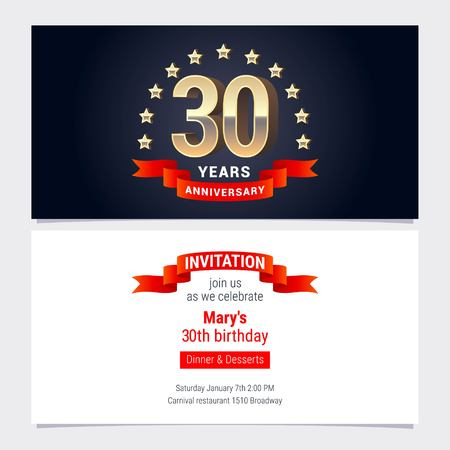 30 years anniversary invitation to celebration vector illustration. Graphic design element with golden number for 30th birthday card, party invite Illustration